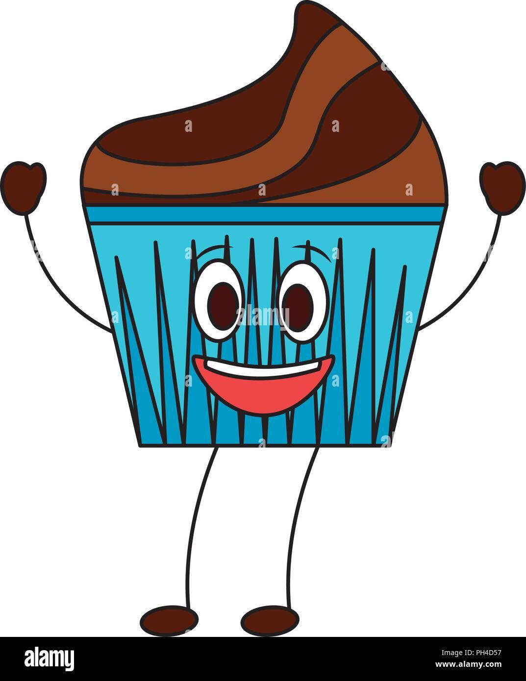 Muffin Kawaii Cara Dibujos Animados Feliz Imágenes De Stock Muffin