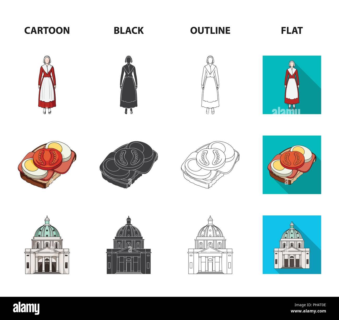 Dinamarca, historia, restaurante y otro icono de cartoon,negro,esbozo,estilo plano.alimentos pan Sandwich iconos en conjunto Ilustración del Vector