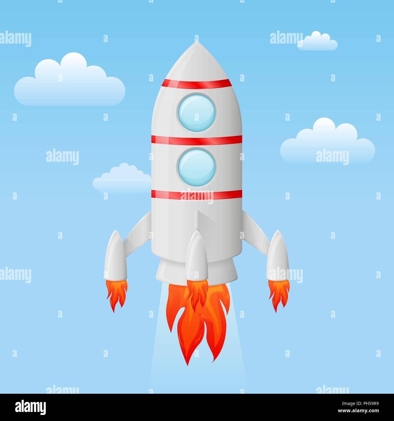 Cohete Volando En El Cielo Dibujos Animados De Color Ilustración