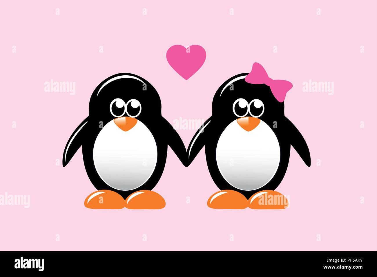 Cute dibujos animados de pingüinos amor illustartion