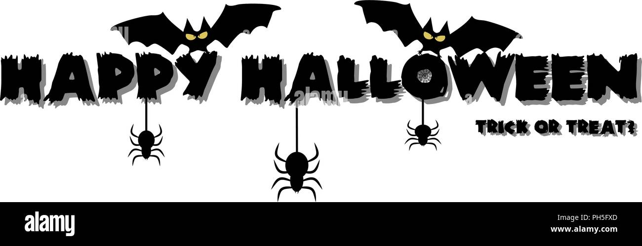 Happy Halloween Brush Lettering Black Imágenes De Stock & Happy ...