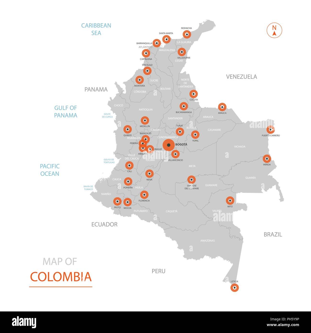 Mapa De Colombia Ciudades.Vector Estilizados Colombia Mapa Mostrando Las Grandes