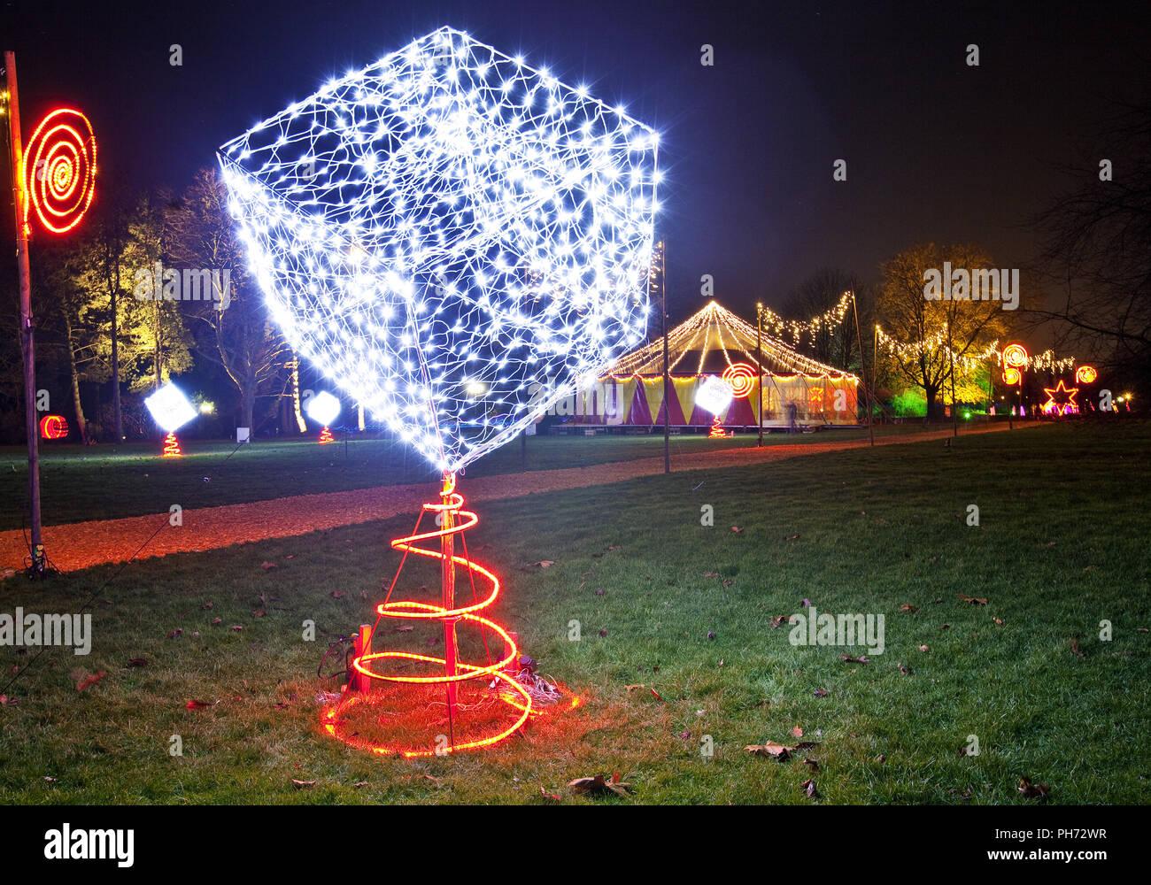 Luces de invierno, parque Westfalia, Dortmund, Alemania. Imagen De Stock