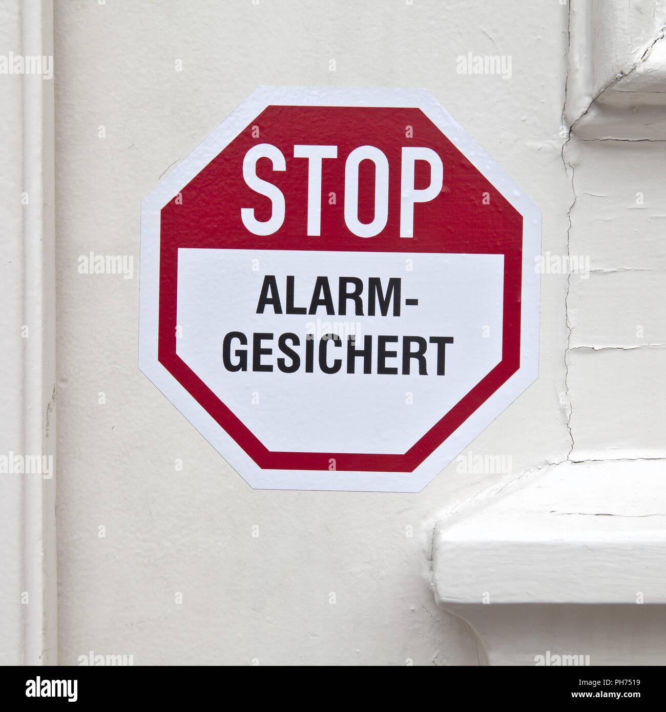 Adhesivo en la puerta la alarma de parada Imagen De Stock