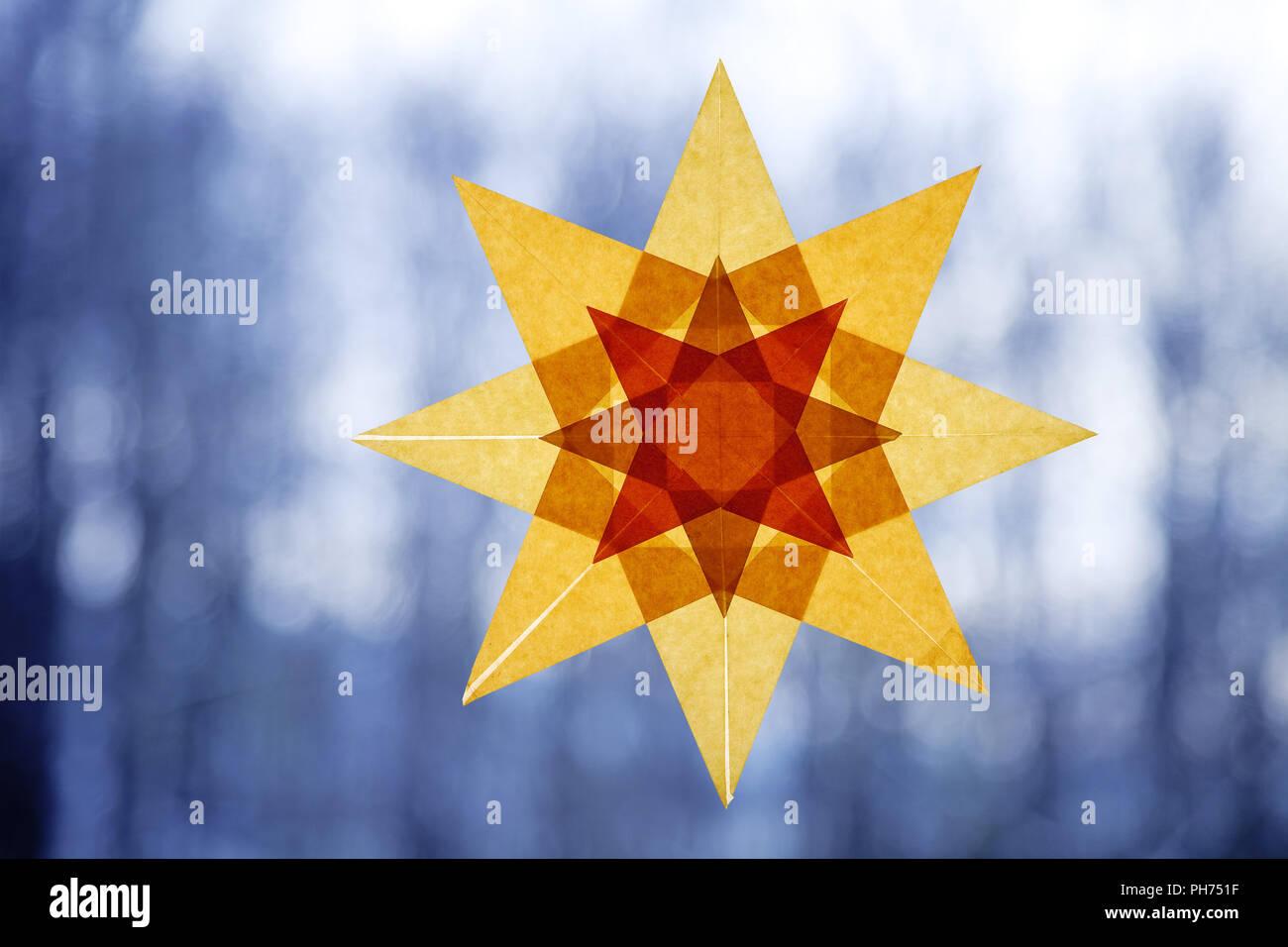 Transparente, estrella de la decoración de las ventanas, el invierno Imagen De Stock
