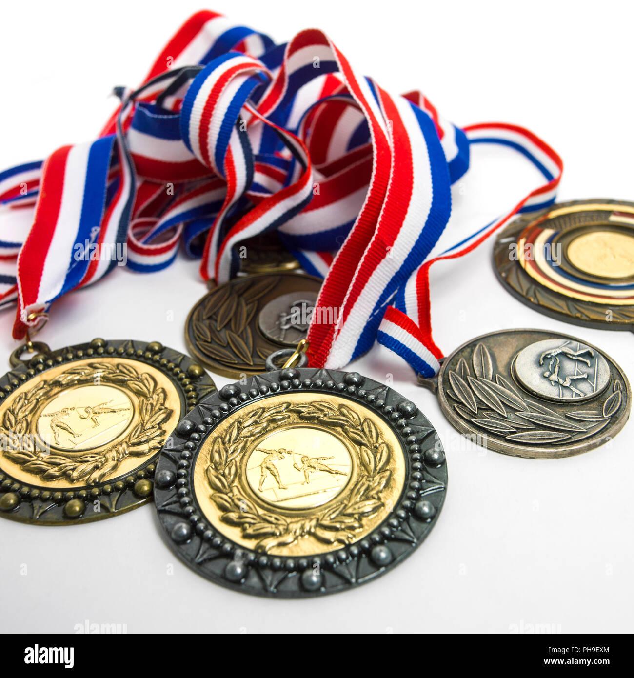 Medallas de esgrima con una cinta tricolor Imagen De Stock