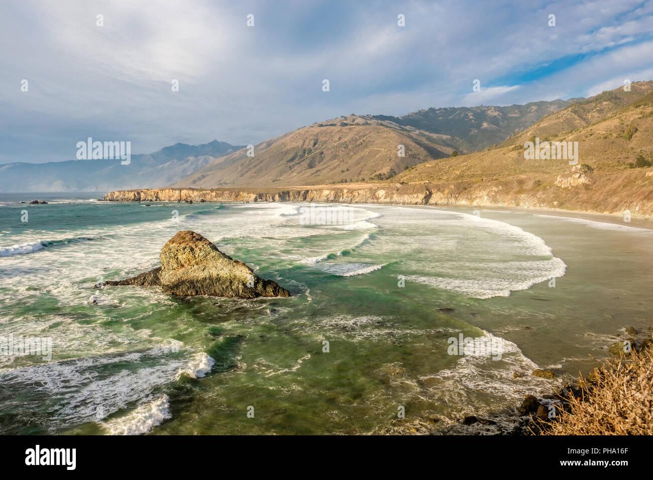 La costa del Pacífico de Estados Unidos, Dólar de Arena Beach, Big Sur, California Imagen De Stock