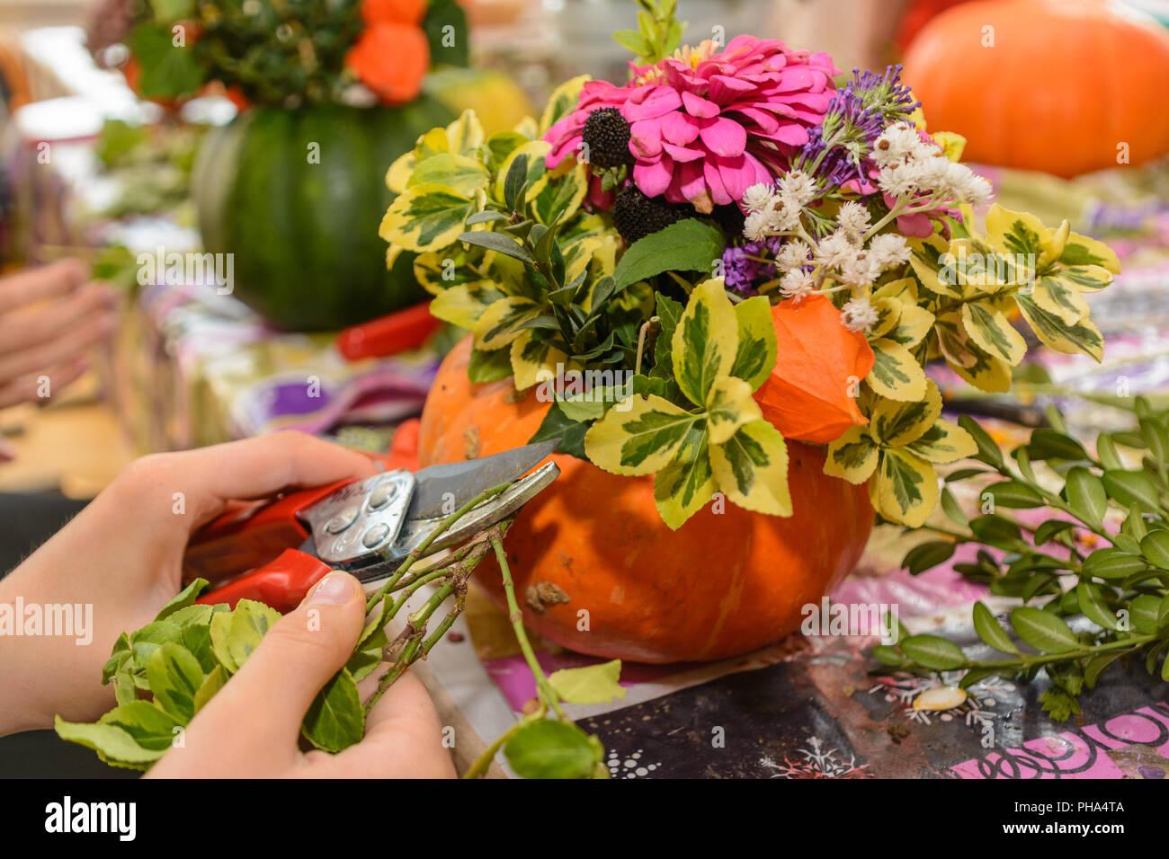 Floristería Diseño Colorido Arreglo Floral Otoñal Foto