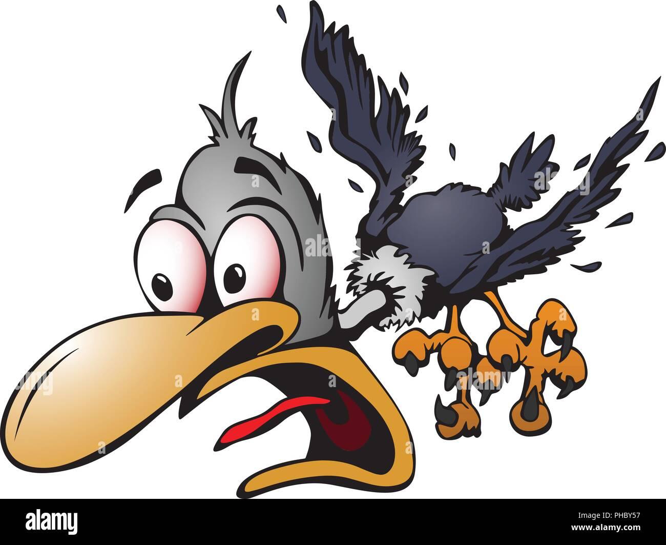 Crazy Cartoon Bird Ilustración Vectorial Con Conmocionado