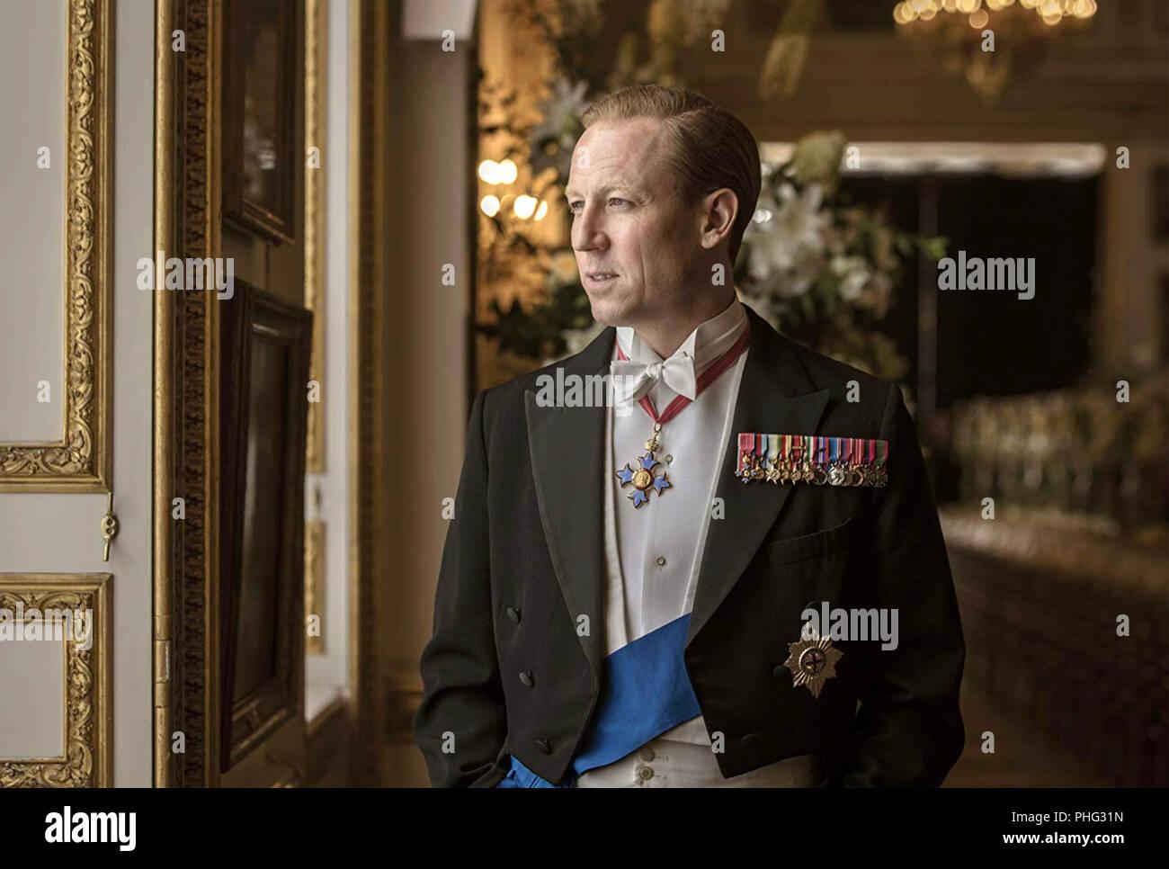La corona de la serie de televisión de Netflix con Tobias Menzies como Felipe, Duque de Edimburgo Imagen De Stock