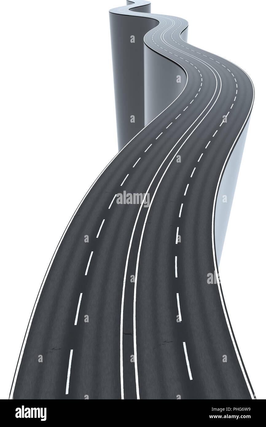 Un sinuoso camino alto y arriesgado Foto de stock