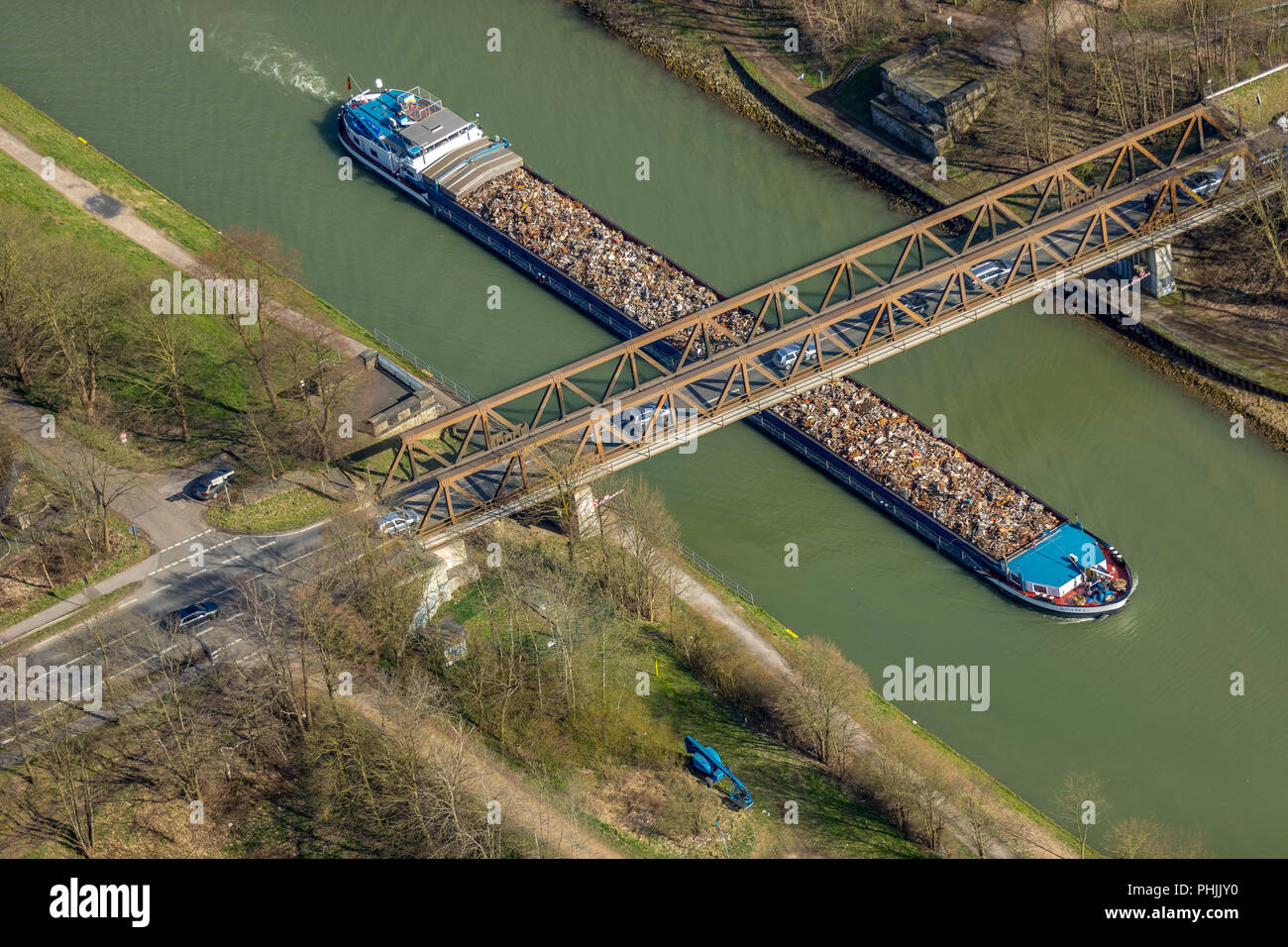 Puente improvisado, el puente sobre el Canal Wesel-Datteln cerca de Hünxe Krudenburg en NRW. Hünxe, área de Ruhr, Renania del Norte-Westfalia, Alemania, Hünxe, DEU, Foto de stock