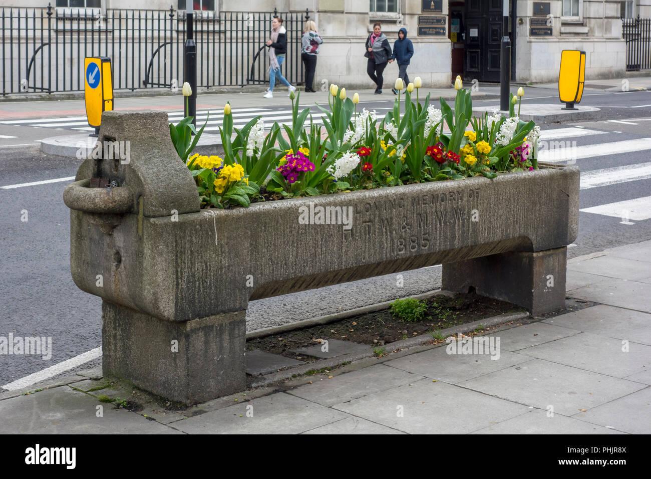 Abrevadero histórico con flores, metropolitana El fuente de agua potable y ganado a través de la asociación, de la ciudad de Londres, Reino Unido Imagen De Stock