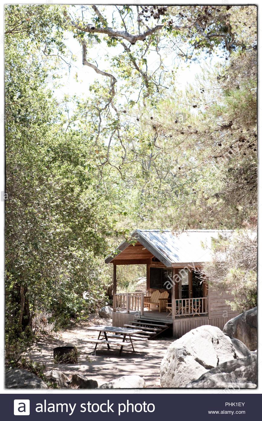 Cabaña de madera de árboles Foto de stock