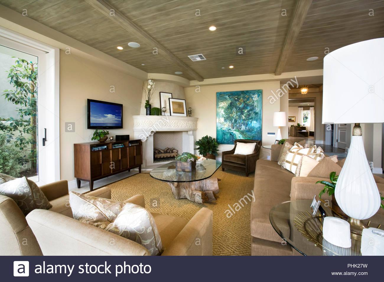 Salón blanco y marrón Imagen De Stock