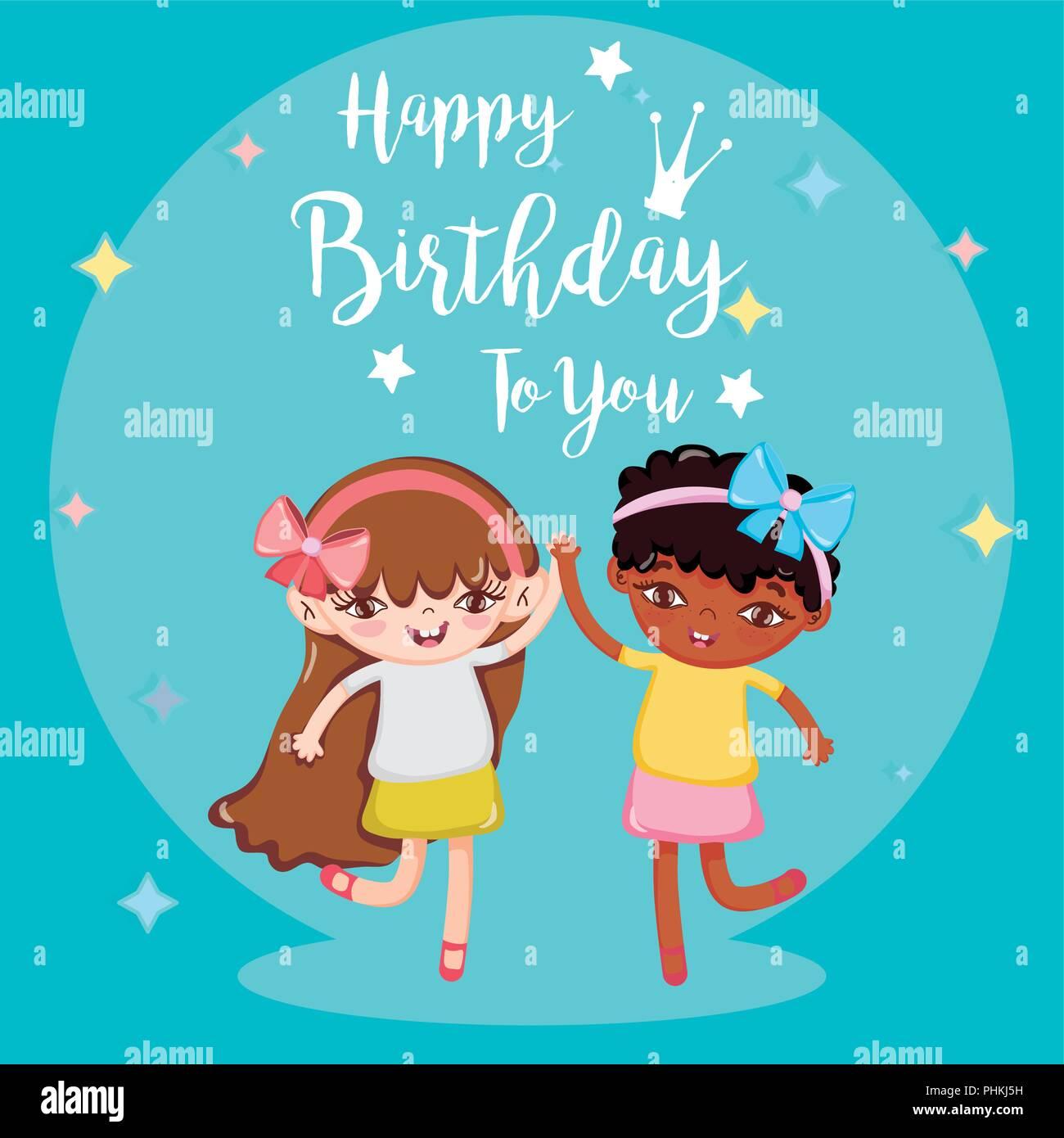 adb430a1d Feliz cumpleaños tarjeta con chicas hermosas caricaturas ilustración  vectorial diseño gráfico