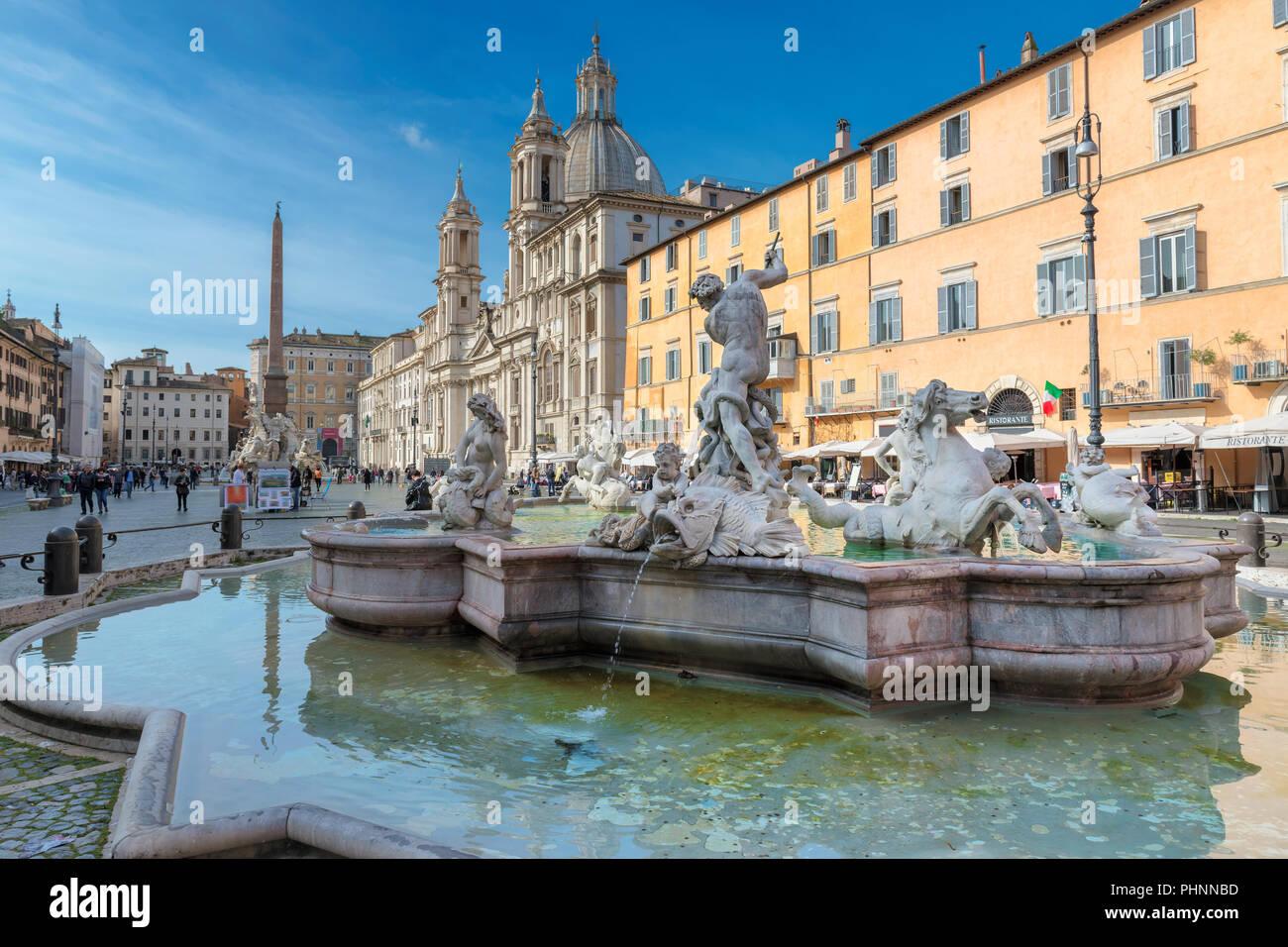 Piazza Navona en mañana en Roma, Italia, Europa. Imagen De Stock