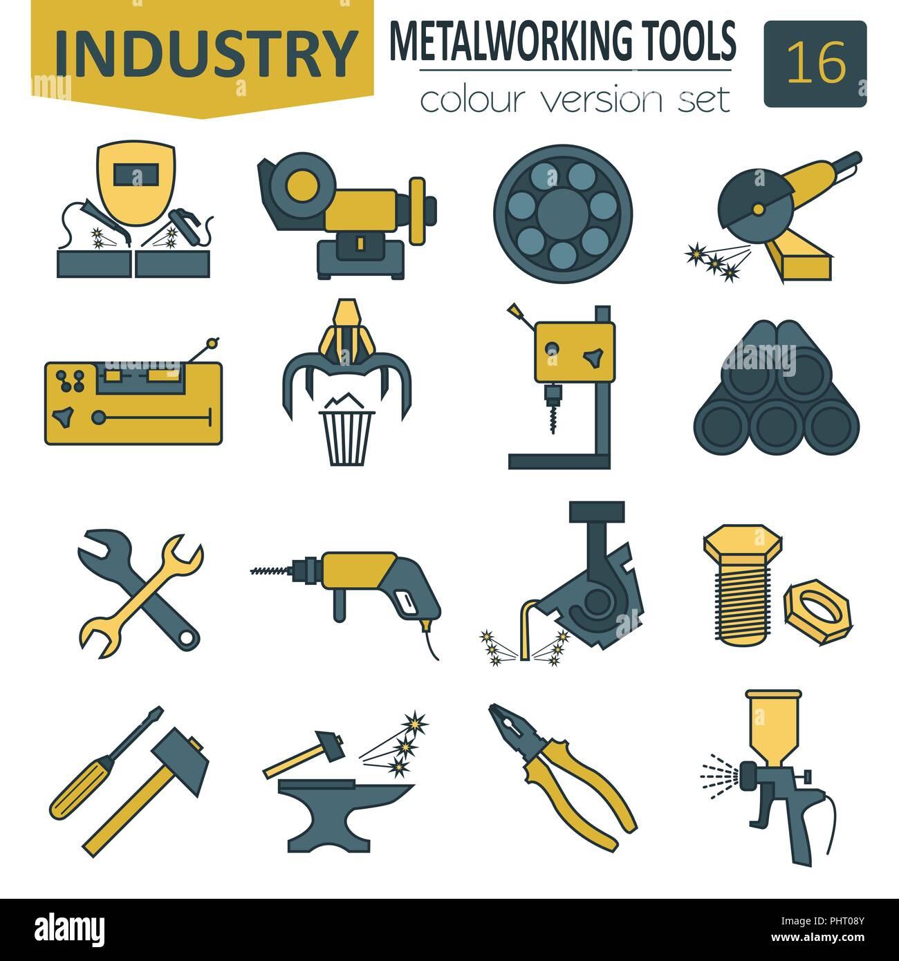 Herramientas Para Trabajar Metal Conjunto De Iconos Diseño De Línea Delgada Ilustración Vectorial Imagen Vector De Stock Alamy