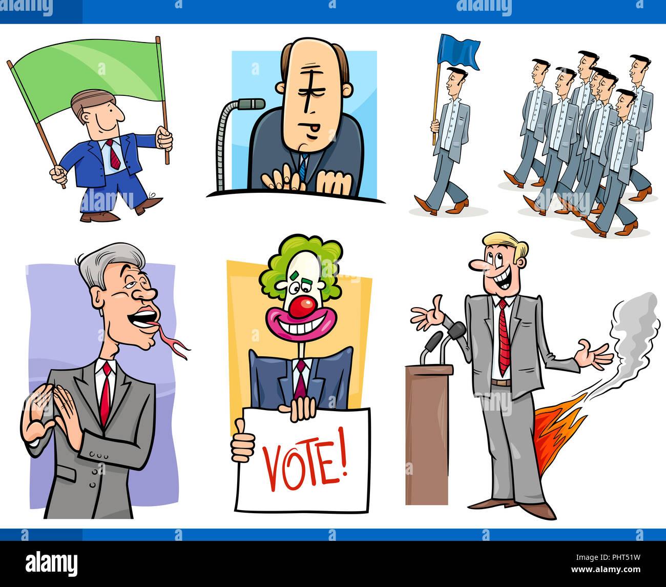Conjunto De Política Y Político Conceptos De Dibujos Animados Foto