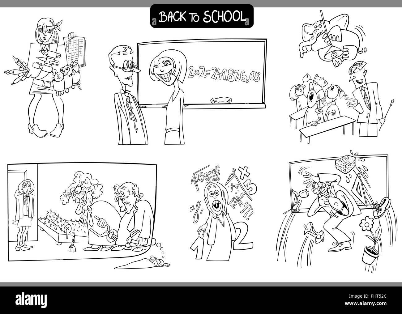 La Escuela Y La Educación Conjunto De Cartón Para Colorear