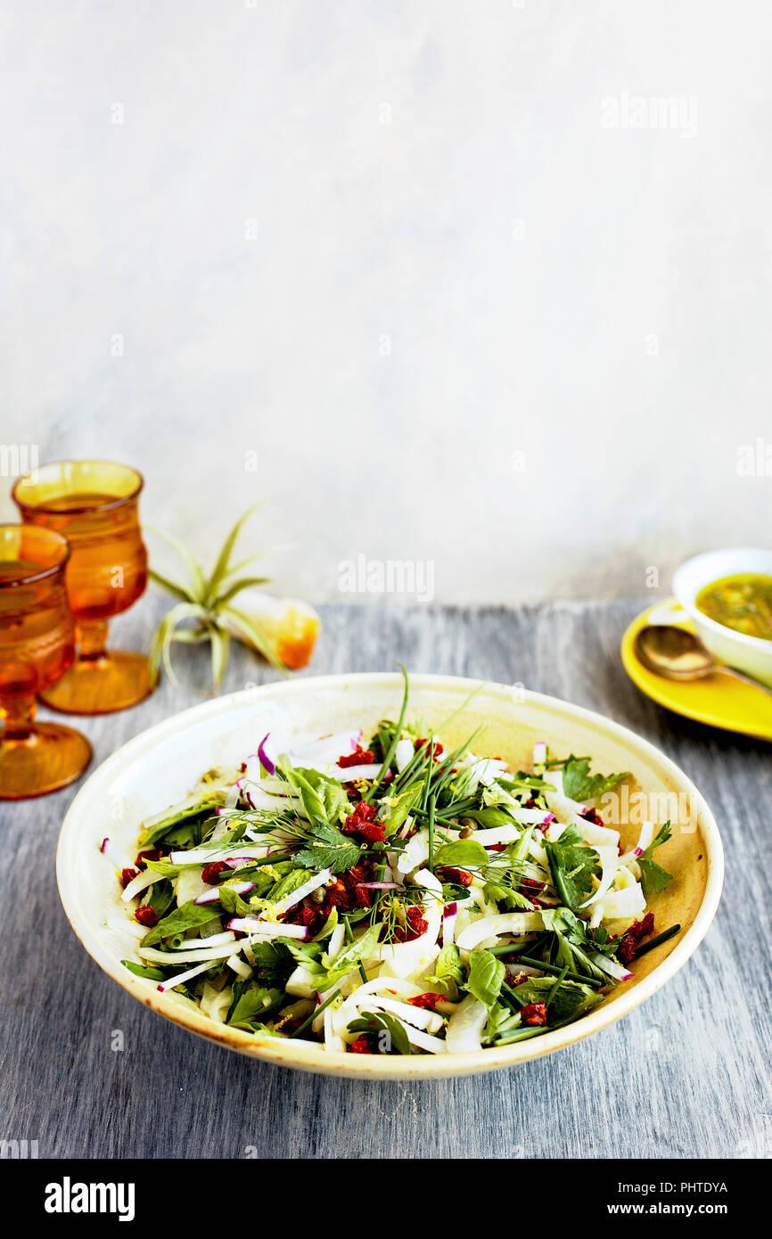 Hierba de hinojo ensalada con salsa verde de estilo italiano. Fotografiado en un b;ack/fondo gris. Imagen De Stock