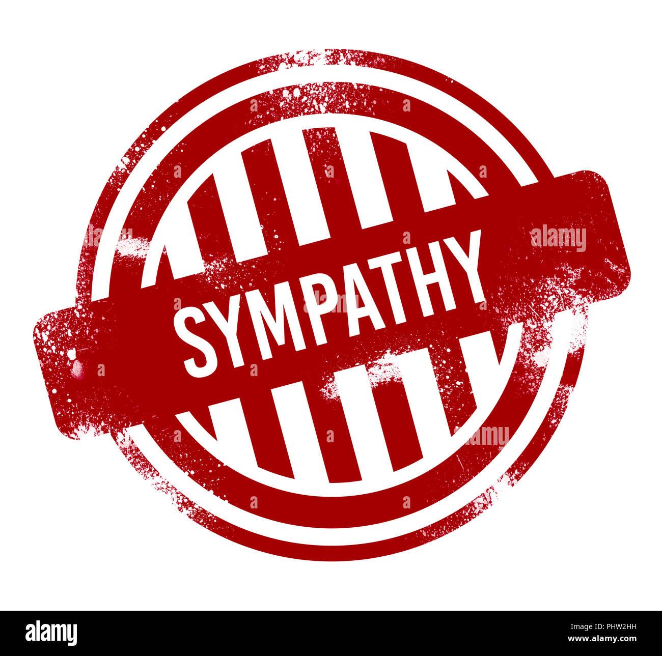 Simpatía - grunge botón rojo, sello Imagen De Stock