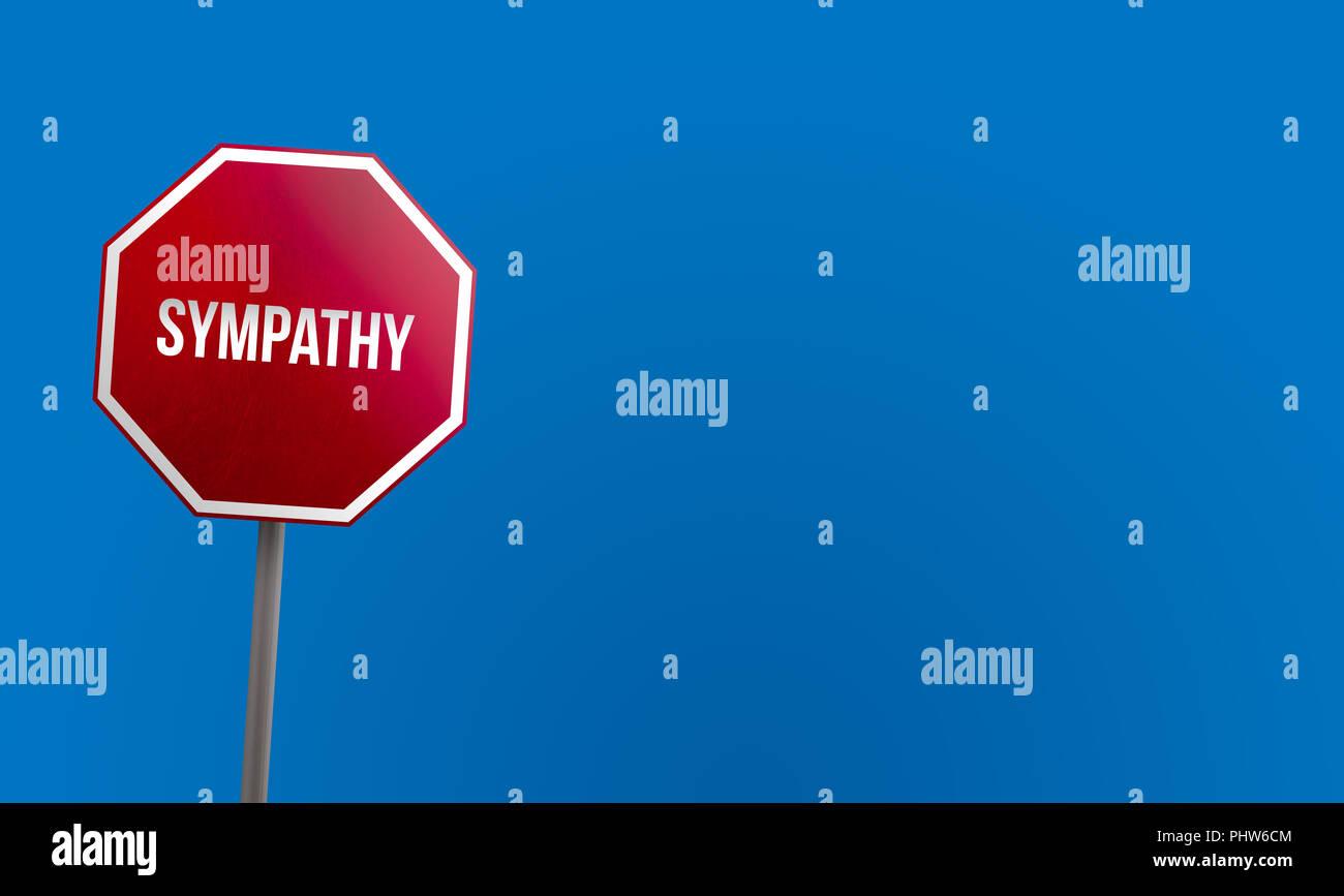 Simpatía - signo rojo con el cielo azul Imagen De Stock
