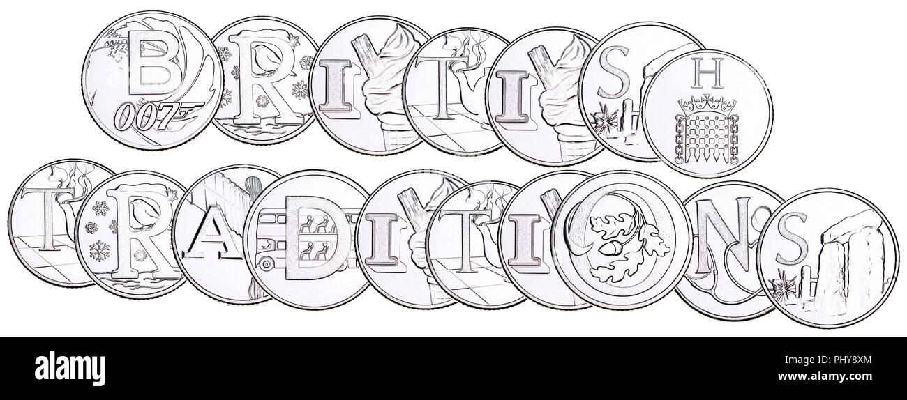 """British 10p moneda (retroceso) a partir de 2018 La serie 'Alfabeto', celebrando el sentimiento británico. """"British Tradiciones' Imagen De Stock"""