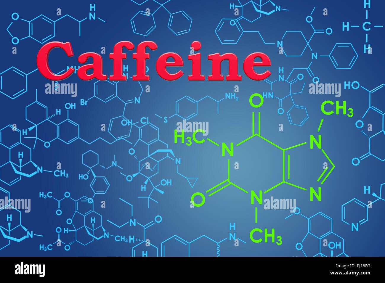 La Cafeína Fórmula Química Estructura Molecular 3d