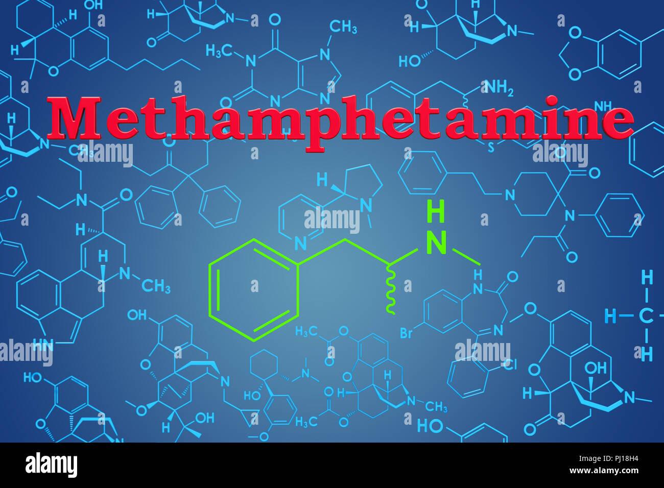 Metanfetamina Fórmula Química Estructura Molecular 3d