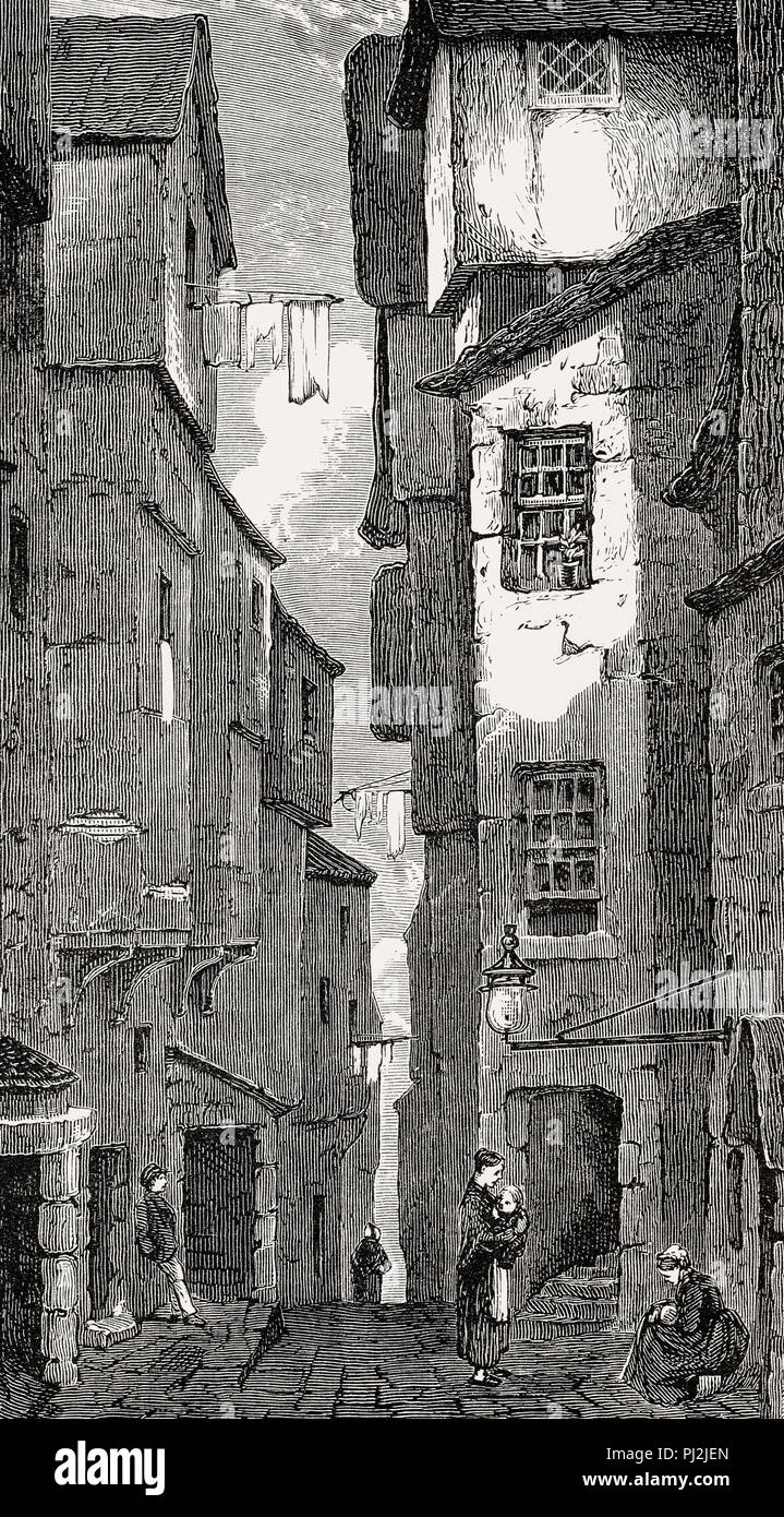 Cerca del defensor, Edimburgo, Escocia, del siglo XIX. Imagen De Stock