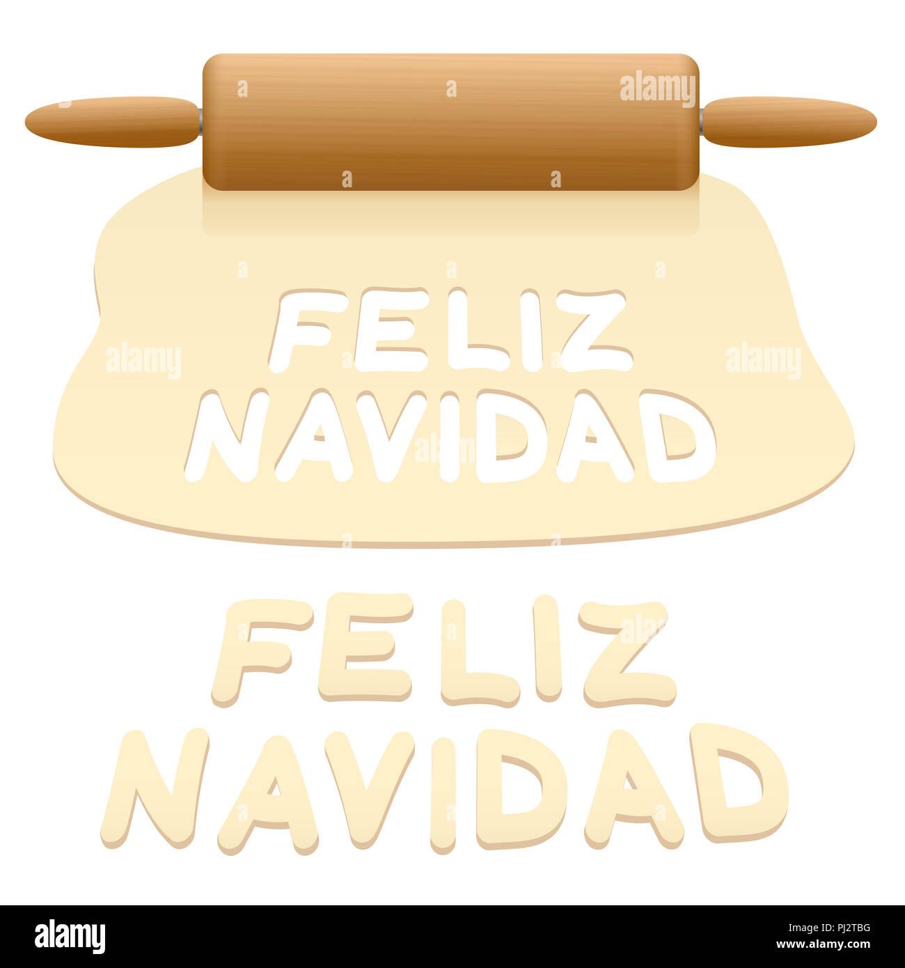 Merry Christmas cookies cortada de pastelería masa decir Feliz Navidad en idioma español. Imagen De Stock