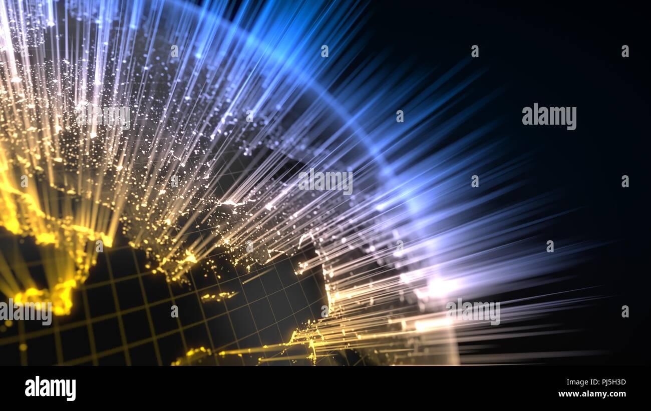 Globo terráqueo oscuro con detalles brillantes y rayos de luz. Ilustración 3d Imagen De Stock