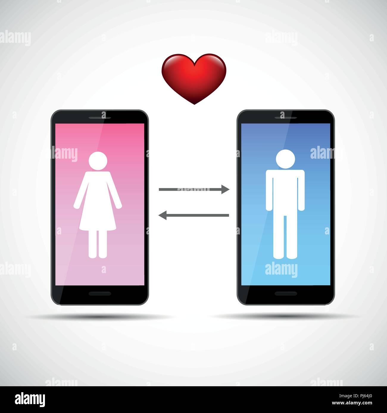Online dating app concepto con el hombre y la mujer el pictograma ilustración vectorial EPS10 Ilustración del Vector