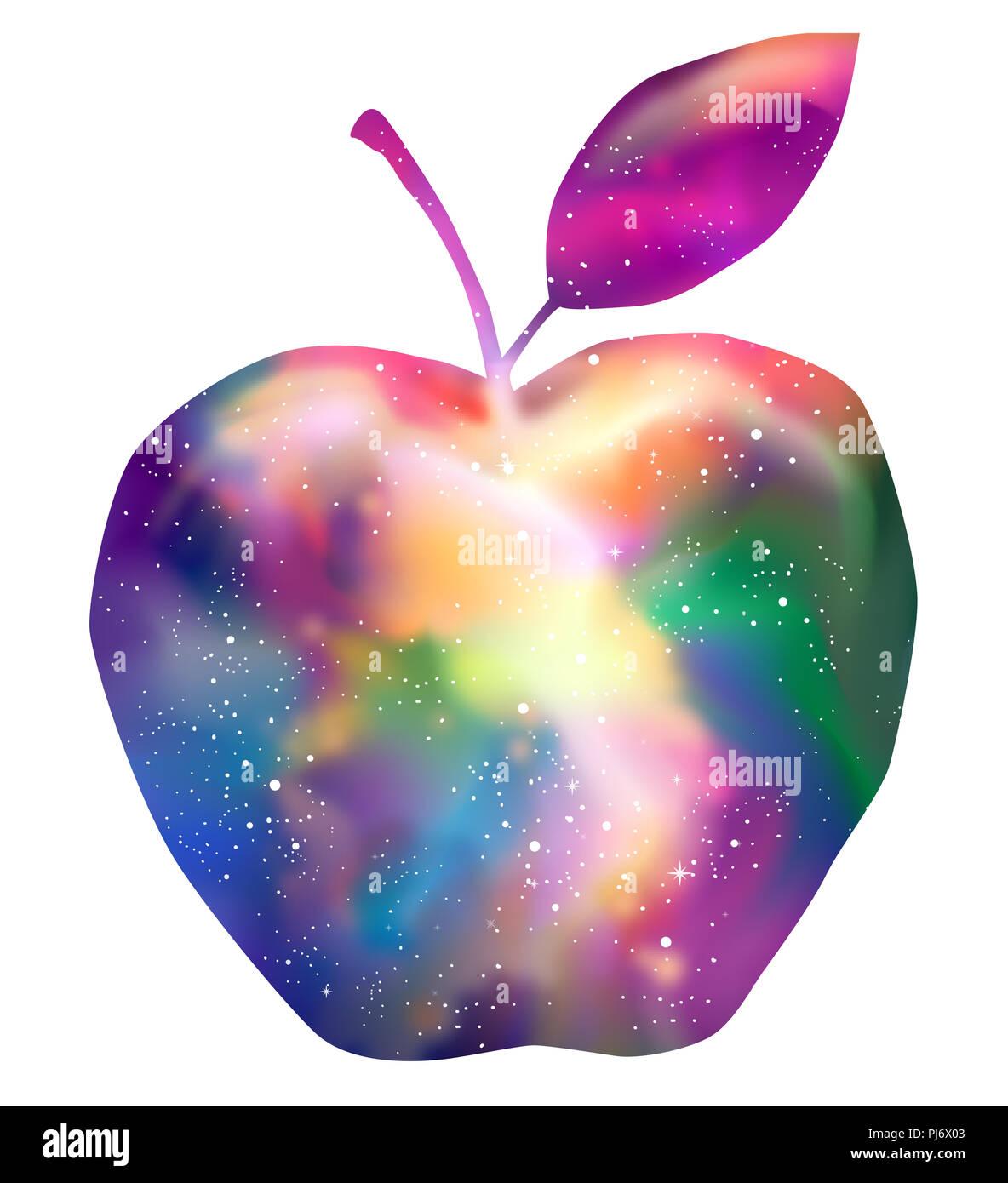 Ilustración de una manzana mostrando una galaxia de fantasía Diseño eps10 Imagen De Stock