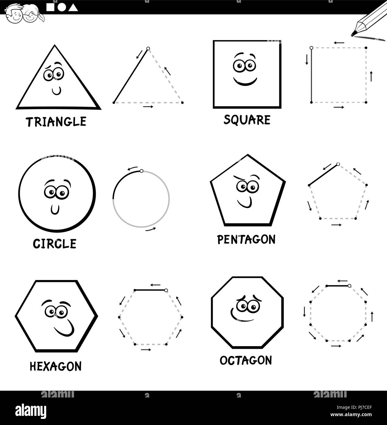 En Blanco Y Negro De Dibujos Animados Educativos Ilustracion De