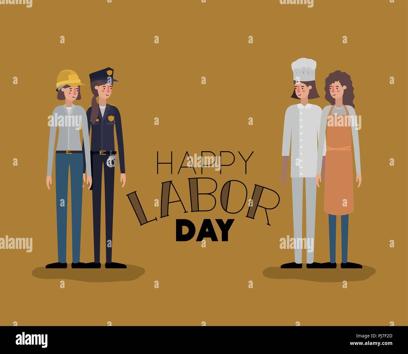 Dia Del Trabajador Mujeres feliz día del trabajo con mujeres trabajadoras de tarjeta