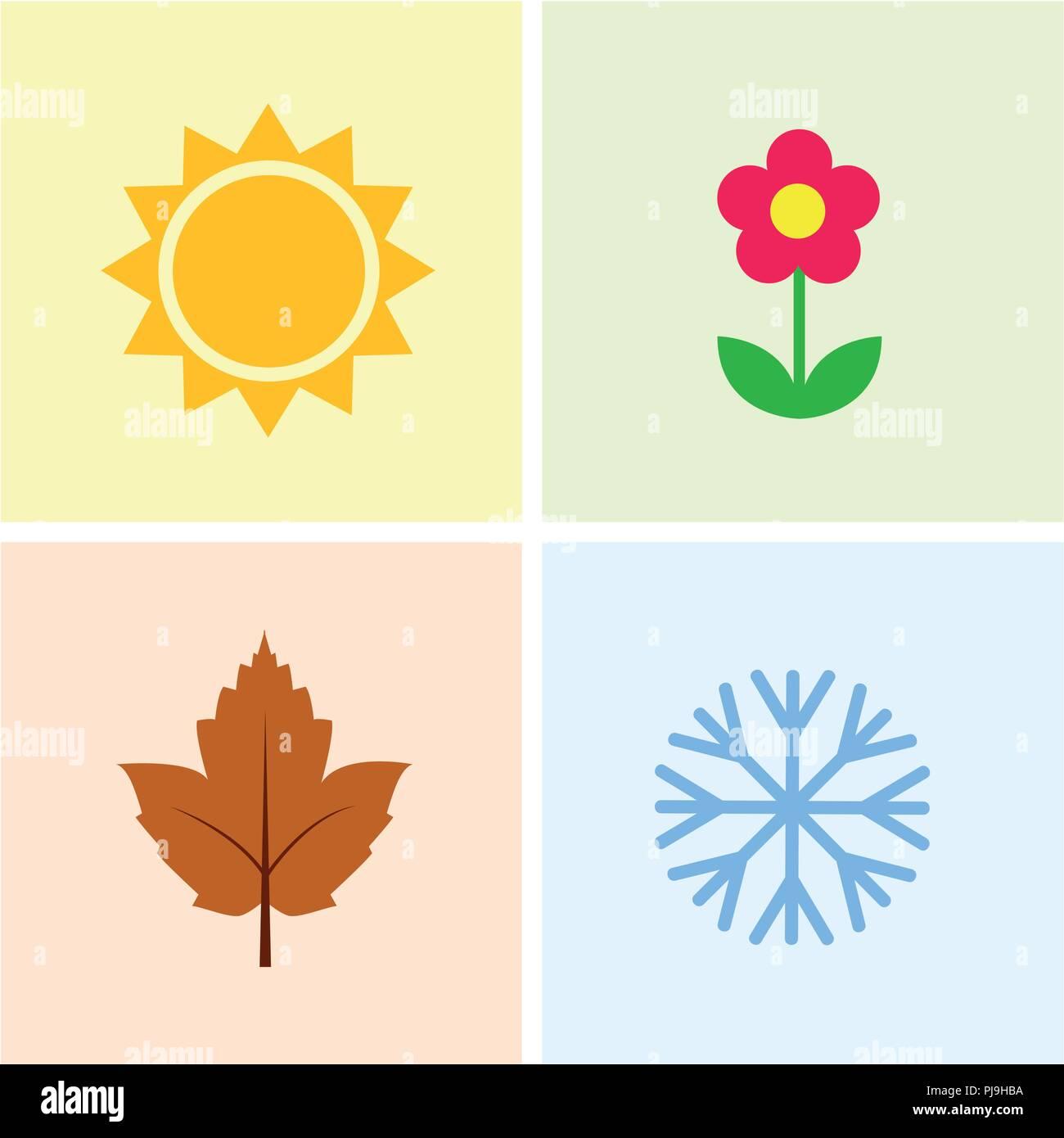 23003cd75318 Cuatro temporadas verano primavera otoño invierno calendario ...