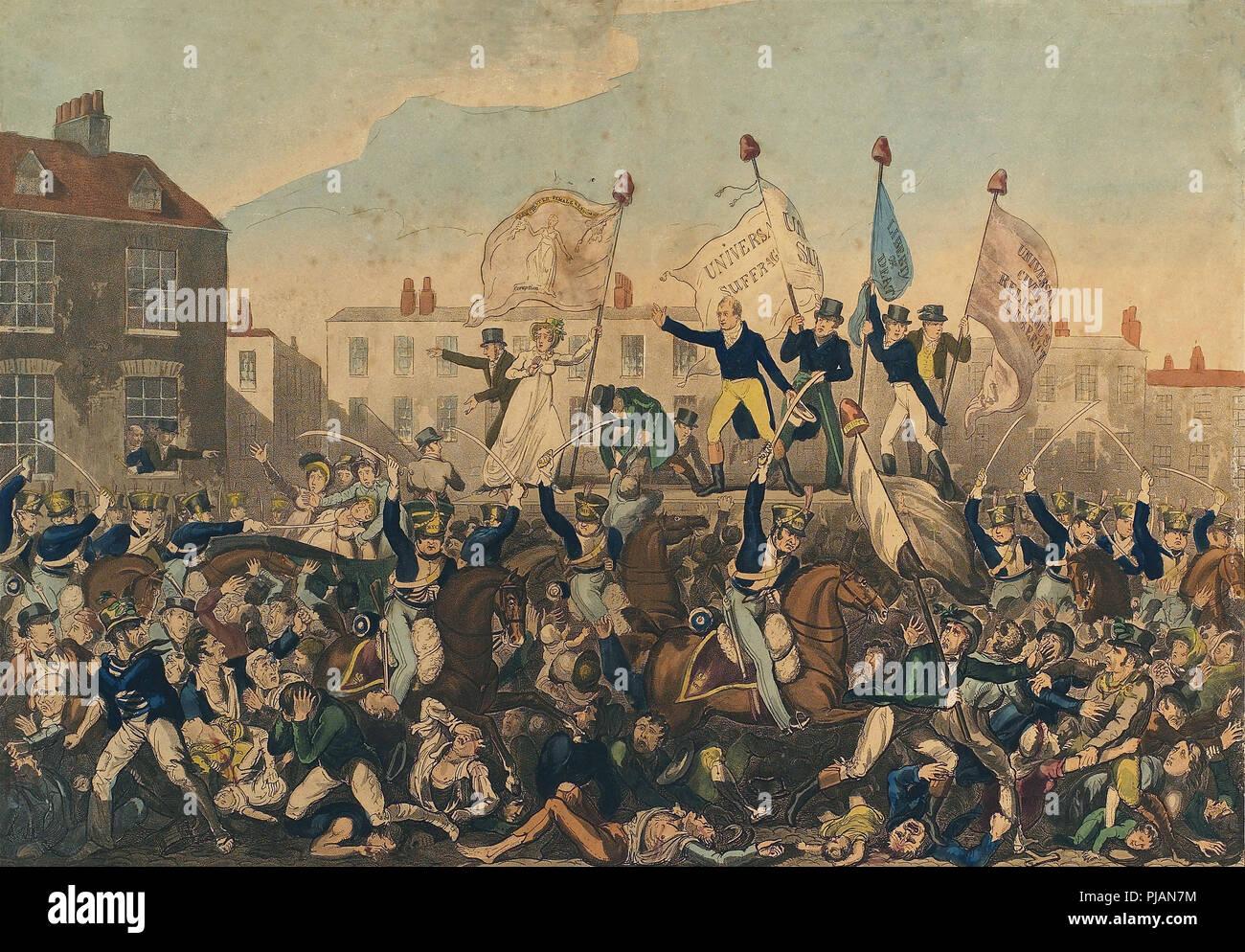 La masacre de Peterloo. La masacre tuvo lugar el 16 de agosto de 1819 en San Pedro el campo, Manchester, Inglaterra, cuando la 15ª Hussars, un regimiento de caballería, cargada con sables arrastrados a una muchedumbre desarmada que exigen la reforma de la representación parlamentaria, matando a 15 e hiriendo a un estimado de 500-plus. Grabado publicado por Richard Carlile, 1 de octubre de 1819. Foto de stock