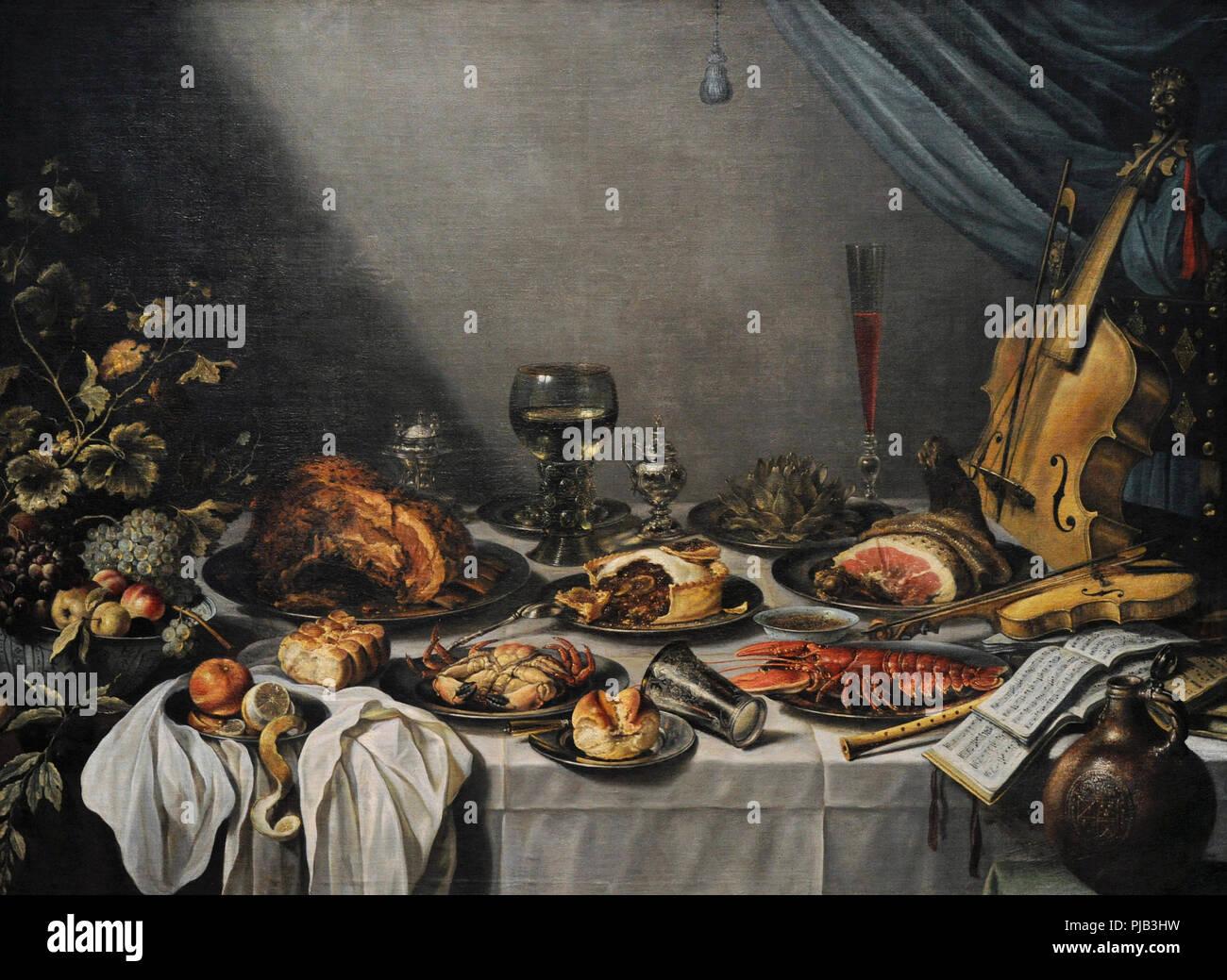 Pieter Claesz. (1597/1598-1661). La edad de oro holandesa pintor. Still Life, 1653. Museo Wallraf-Richartz. Colonia. Alemania. Imagen De Stock