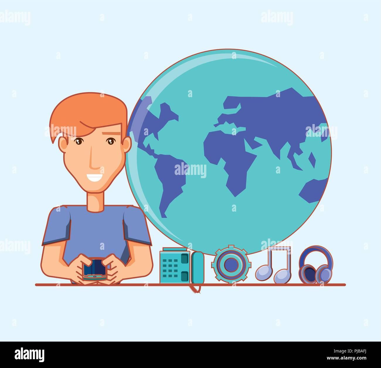 Hombre con aplicaciones móvil social media ilustración vectorial Imagen De Stock
