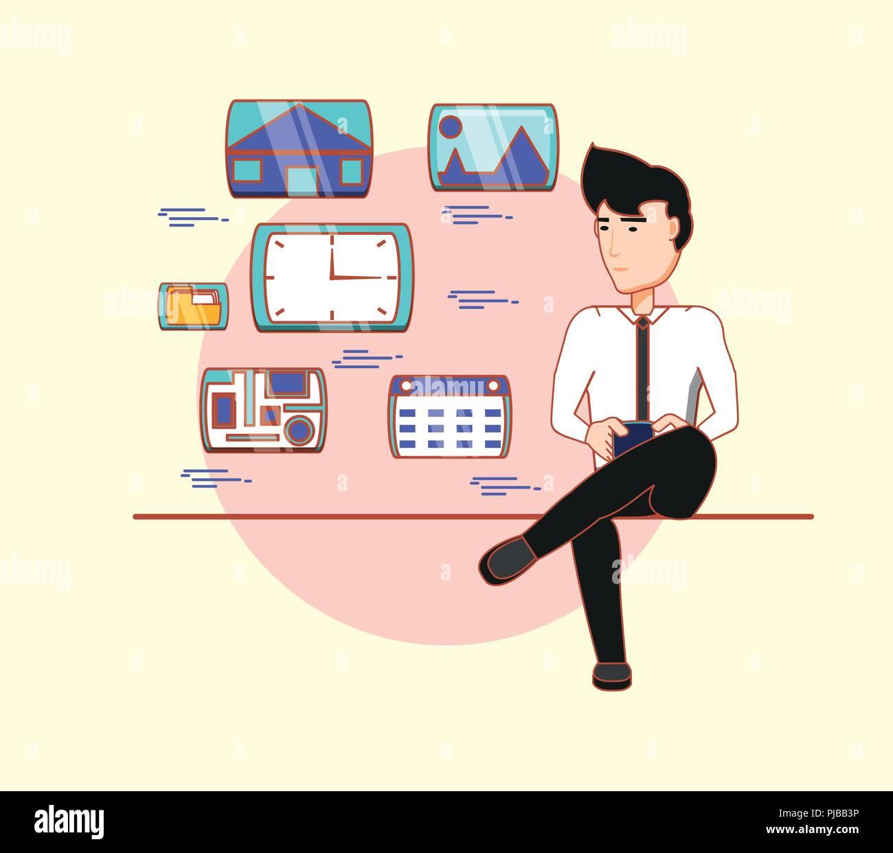 Empresario sentado utilizando aplicaciones móviles social media ilustración vectorial Imagen De Stock