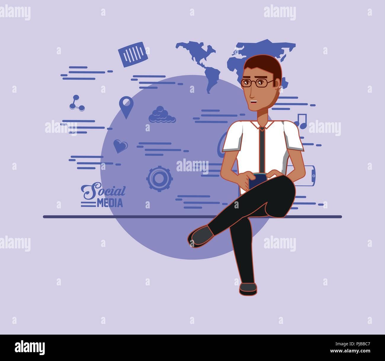 El hombre posee smartphone y aplicaciones de medios sociales ilustración vectorial Imagen De Stock