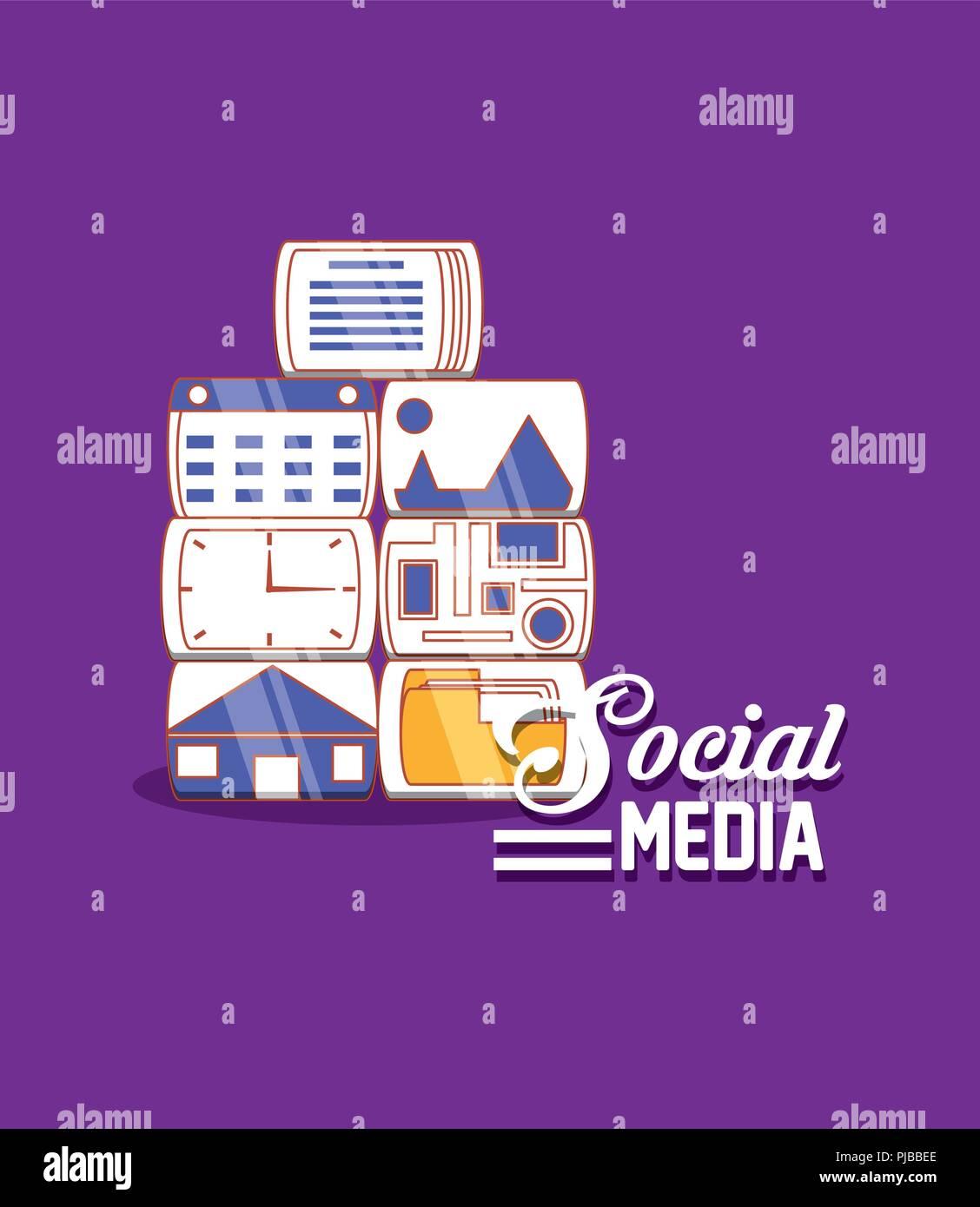 Aplicaciones de medios sociales technology digital ilustración vectorial Imagen De Stock