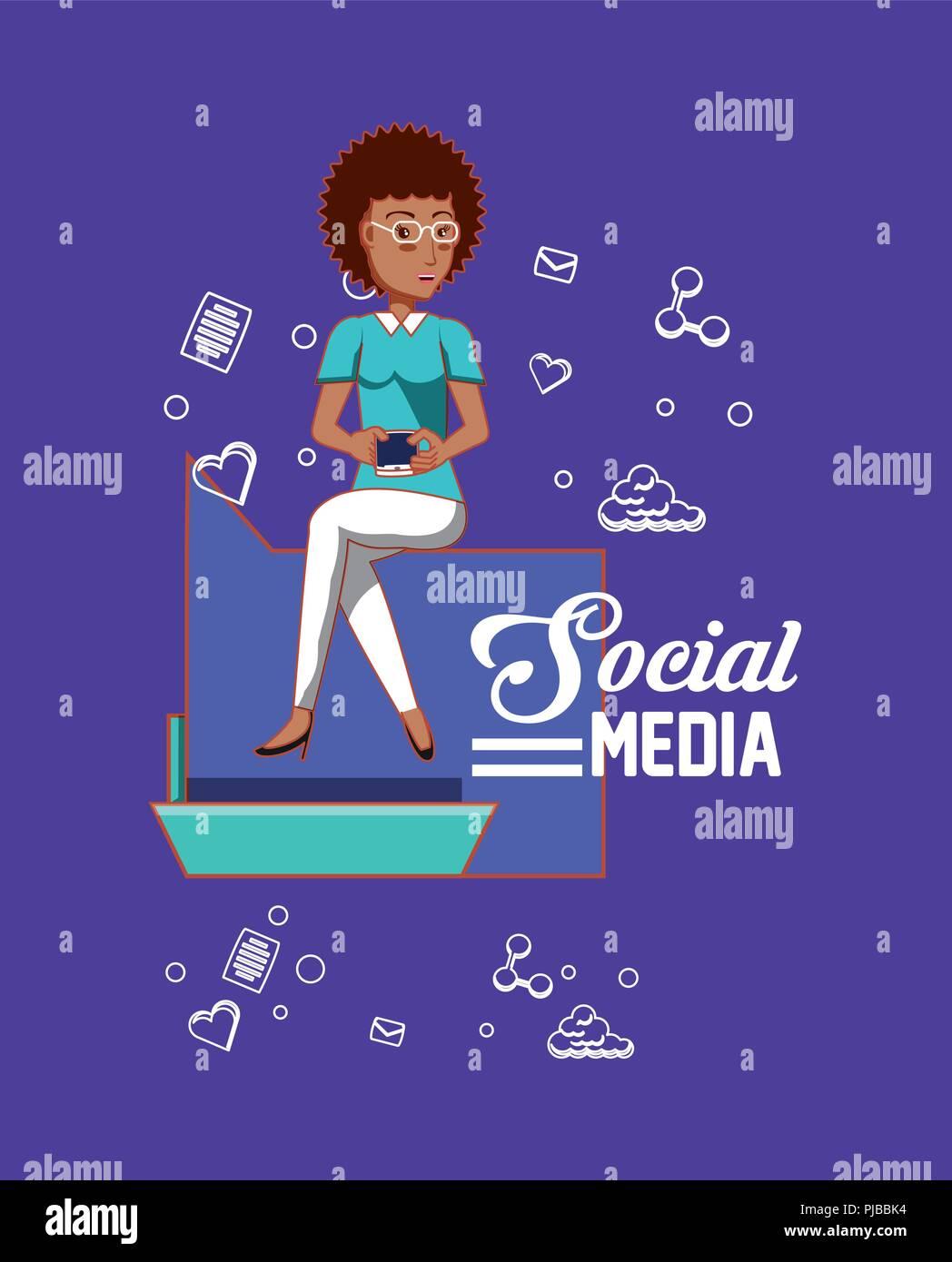 Mujer sosteniendo smartphone aplicaciones de medios sociales ilustración vectorial Imagen De Stock