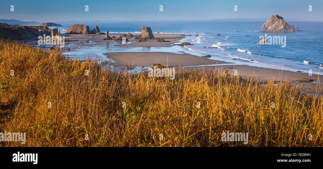 Arcos, seastacks, y rocas en la banda.En la playa, Oregon. Imagen De Stock