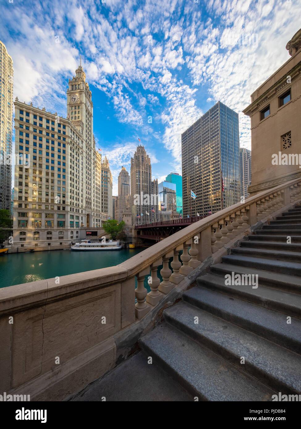 Chicago, una ciudad en el estado norteamericano de Illinois, es la tercera ciudad más poblada de los Estados Unidos. Imagen De Stock