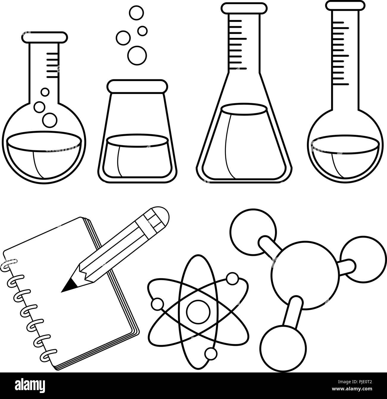 La Ciencia Y La Química Libro Para Colorear De Blanco Y Negro