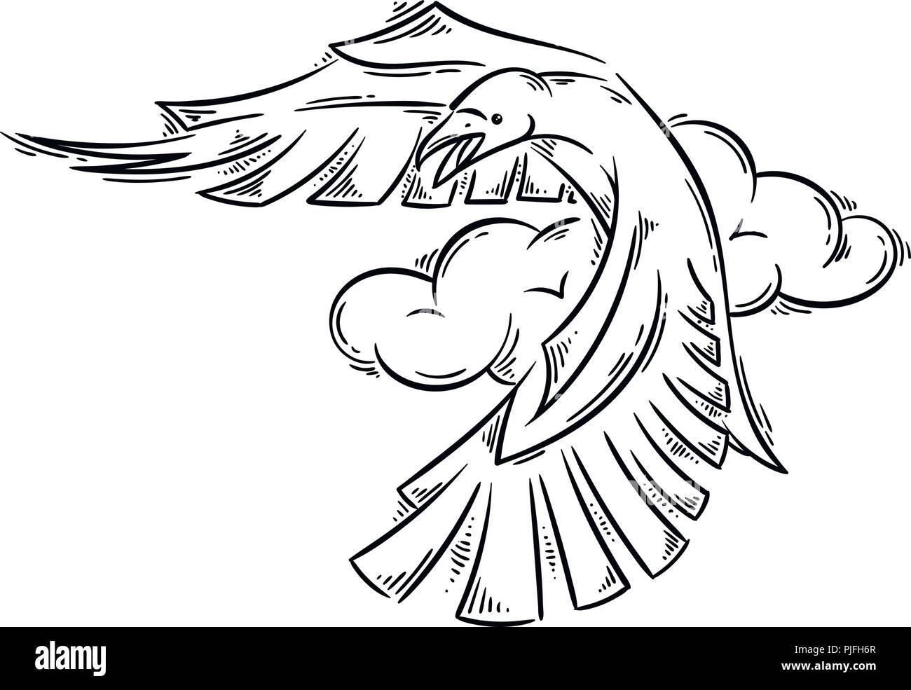 Raven En Abstracto Estilo Tatuaje Ilustración Vectorial Para