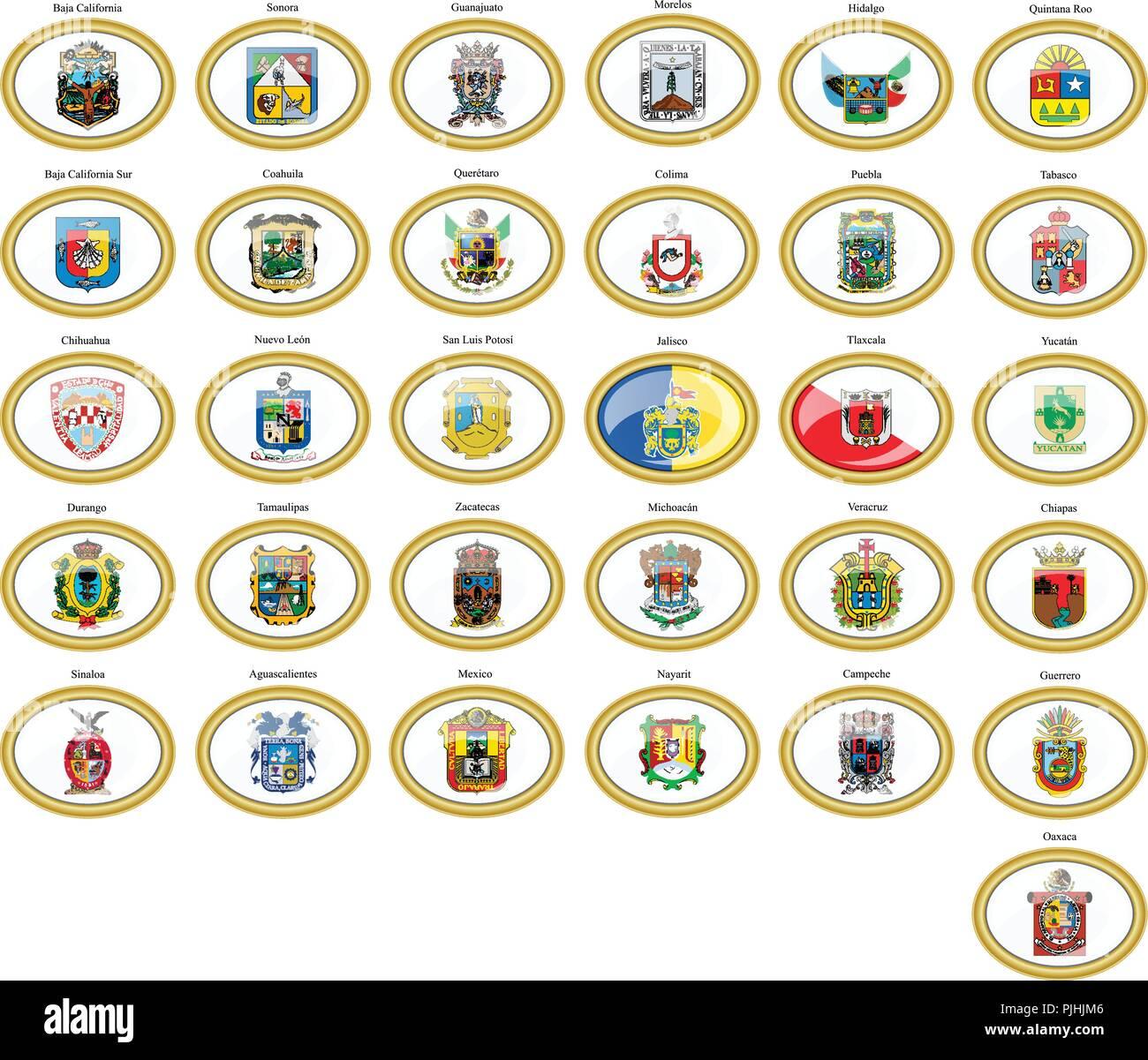 Conjunto de iconos. Banderas de México. Ilustración del Vector